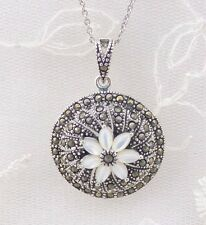 Round Pendant Necklace With Shell Flower And Marcasite 925 Sterling Silver New