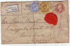 1907 LONDON EC4 REGISTERED ENV PERFIN RALLI BROTHERS LATE FEE 4d PAID CACHET