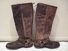 $398 FRYE Tall Phillip Studded Distressed Chocolate Brown Harness Boots SZ 6.5