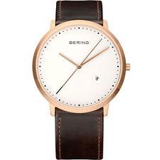 *BRAND NEW* Bering Men' Black Calfskin Strap Silver Tone Steel Watch 11139-564