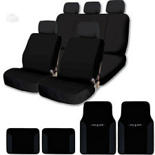 NEW BLACK FLAT CLOTH CAR TRUCK SEAT COVER SET W VINYL TRIM MATS FOR VW