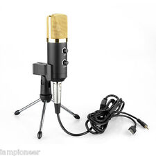 Black Computer USB Studio Condenser Microphone Cardioid PC Recording Mic w/Stand