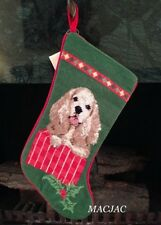 Cocker Spaniel Dog Needlepoint Christmas Stocking NWT