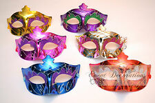 PACK of 6 METALLIC MASQUERADE MASKS, FANCY DRESS - ASSORTED COLOURS! 9223