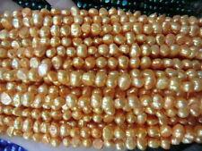 5-6mm Water Gold Freshwater Cultured Pearl Flat Gemstone Loose Beads 14''