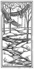 Eagle Pair Over Winter Stream, Wood Mounted Rubber Stamp New NORTHWOODS - O8327