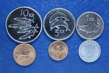 ICELAND 6 DIFFERENT COINS SET WWF FAUNA ANIMAL SET LOW PRICE !!