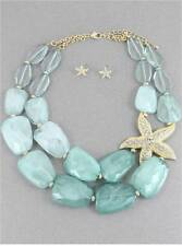 TWO LAYERS MULTI MINT LUCITE BEAD GOLD TONE SIDE STARFISH NECKLACE EARRING