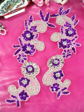 0183  PURPLE SILVER MIRROR PAIR SEQUIN BEADED APPLIQUES