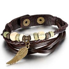 Men's Women's Unisex Vintage Angel Wings Wooden Beaded Leather Bracelet Cuff New