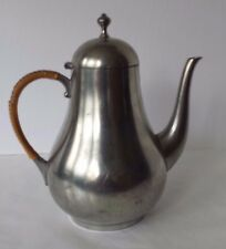 Royal Holland Daalderop Pewter Tea Pot Bamboo Wrap Handle 9.5""