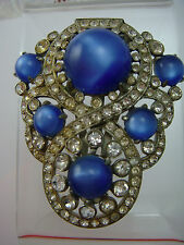 STUNNING ART DECO BLUE GLOBAL MOONSTONE RHINESTONE PASTE PIN BROOCH FUR CLIP