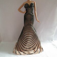 NEW Barbie Zuhair Murad Doll Nude & Black Long Dress Model Muse Gown Gold Label