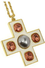 NEW-KENNETH JAY LANE GOLD-PLATED, CRYSTAL AND FAUX PEARL NECKLACE