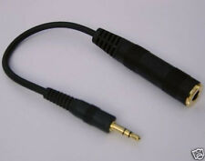 "Cable Adapter F 1/4"" 6.3mm to M 1/8"" 3.5mm TRS Stereo Plug Headphones Earphones"