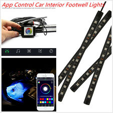 Car Interior Footwell Atmosphere RGB Phone App Music Control Strip Lights 4X9LED