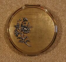 VINTAGE STRATTON EMPTY POWDER COMPACT WITH BRONZE FLOWERS - IN RETAILERS BOX