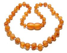 Genuine Raw Baltic Amber Baby Necklace Beads Dark Honey 10.6 - 11 in