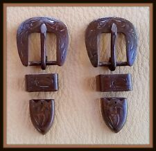 "2 - 5/8"" Hand Engraved / Handmade Iron Buckle Sets  - Spur Straps Headstall  #5"