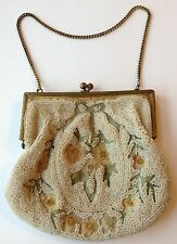 ANTIQUE VINTAGE BEADED CHANGE PURSE WITH METL CLOSURE AND CHAIN