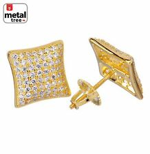Mens Hip Hop 925 Silver 14k Gold Puffed Dome Kite Shaped Screw Back Stud Earring