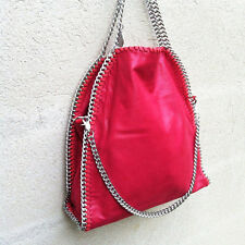 shoulder Bag three chains like red silver laminated handbag evening clutch