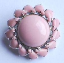 broche vintage porcelaine vieux rose cabochon et poire couleur argent * 3305