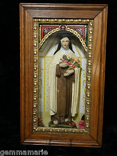 Catholic Victorian Holy Statue Saint Theresia Lisiuex Little Flower Shrine Box