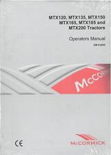 McCORMICK TRACTOR MTX120 MTX135 MTX150 MTX165 MTX185 MTX200 OPERATORS MANUAL