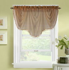 1pc BONITA BROWN VOILE SHEER VALANCE SWAG TOPPER WINDOW CRYSTAL BEADS FRINGE