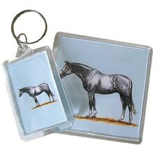 HORSE & WESTERN EQUESTRIAN ACCESSORIES GIFTS GREY WARMBLOOD HORSE KEY RING CHAIN