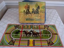 VINTAGE FRENCH-STEEPLE CHASE HORSE RACE GAME-WETTRENN-SPIEL-BOXED LEAD HORSES