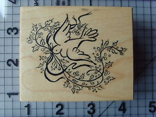 PSX Personal Stamp Exchange Wood & Rubber Stamp Dove Of Peace Holly & Berries