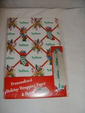 "NEW! PERSONALIZED ""Nathan"" HOLIDAY WRAPPING PAPER +BOW! Christmas Gift Wrap"