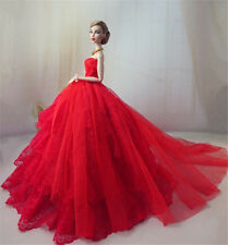 Red Fashion Royalty Princess Party Dress/Clothes/Gown For Barbie Doll E01