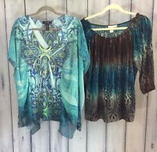 Womens Plus size 1X Clothing Lot of 2 Blouses Peasant Boho Tunic Style Tie Dye
