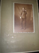 Old mounted photograph boy violin by Ethel Black at Ward End c1910s