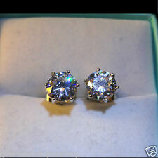Men's Round 7mm swarovski crystal18K white Gold Filled Stud Earrings /UK