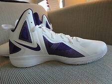 Nike Zoom Hyperfuse 2011 TB basketball  white/violet men shoes 454146 001  Sz 18