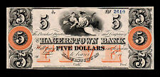 18xx $5 Hagerstown Maryland Bank Note Almost Uncirculated
