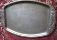 ANTIQUE BRASS TRAY WITH ETCHED FLORAL & FRUIT MOTIF Arts and Crafts Era