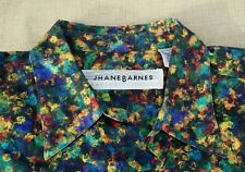 Jhane Barnes Teal Red Blue Orange Floral Abstract L/S Cotton Shirt M Japan