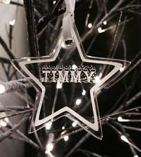 Personalised engraved Acrylic Hanging Tree Decoration STAR name XMAS 2016