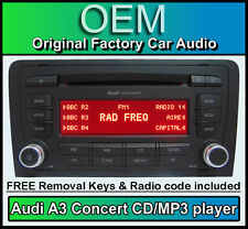 Audi A3 CD MP3 player, Audi Concert car stereo head unit with radio code + keys