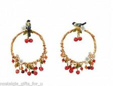 Les Nereides Bird On A Branch Of Cherry Tree Hoop Earrings