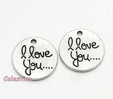 10 Antique Silver I Love You Word Tibetan Style Pendants LF NF Flat Round 20mm