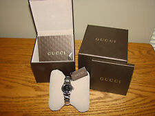 WATCH By GUCCI Stainless Band Women's Black Face Date Time NEW In Box* Ladies