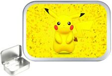 PIKACHU SILVER HINGED 1oz TOBACCO TIN, 50ml TOBACCO TIN,PILL TIN