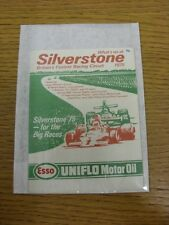 1975 Motor Racing: Silverstone, What On Guide, 6 Page Open Out Style Pocket Guid