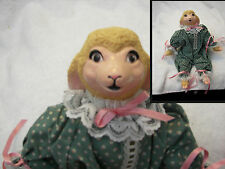 """sheep dressed in clothes vintage look 14""""  plastic head and feet firm body"""
